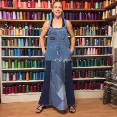 Patchwork Denim Bib Overalls Dress Recycled Blue Jean от sewsomer