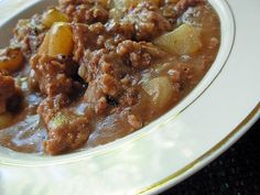 Mushroom Ground Beef Stew - Good starter for a great stew in the slow cooker.