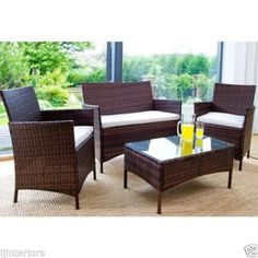 Rattan Garden Furniture Set 4 Piece Chairs Sofa