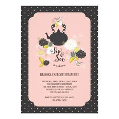 Spring Floral Blooms Birds New Baby Sip And See Personalized Invitation— Designed by fat*fa*tin.