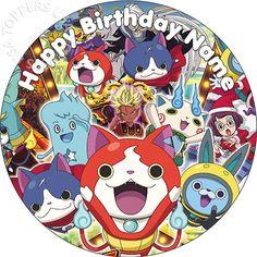 "EDIBLE Yokai Youkai Birthday Party Cake Topper Wafer Paper Round 7.5"" (uncut) Party Decor Decoration Cake Decorating"