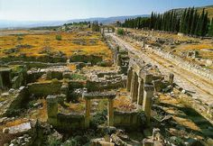 View of the archaeological site of Hierapolis (Pamukkale)