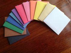 Coloured paper envelopes, Plain envelopes, Handmade envelopes, 3 sizes by PinkyPromiseBargains on Etsy