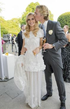 Poppy Delevingne #Chanel couture #wedding dress and loving husband