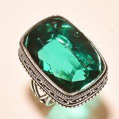 Shiny Faceted Green Tourmaline Vintage Look 925 Silver Jewelry Ring S. 8.25