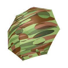 Green and Brown Camouflage Spheres Small Foldable Umbrella