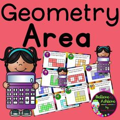 Newly revised!Geometry- Area Task CardsThis is a colorful set of 24 task cards that will help students determine area. This set is a wonderful addition to your lessons! I've included a recording sheet and answer key, too!