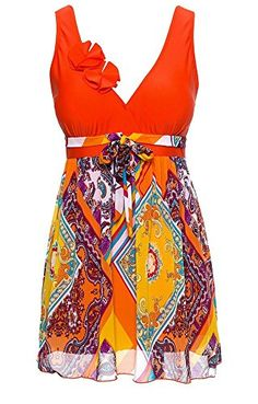 97cc4b6f44328 MiYang Women s Plus Size Printing Padded High Waist Swimdress at Amazon Women s  Clothing store