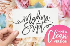 Look at the different products you can do! A font! A product & business card mock up! A floral background stock photo! Madina Script (New Update) by Sam Parrett on @creativemarket