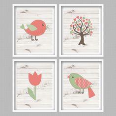 Birds Digital Art Prints  Set of 4  8x10  by PerfectlyMatched