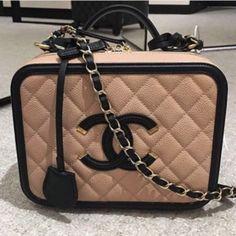 Chanel Beige/Black CC Filigree Vanity Case Small Bag 2
