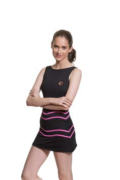 Alethia Tennis Dress Black and Pink. Available on our website:                                                                          www.30Fifteen.co.uk 30Fifteen | Tennis | Fitness | Health | Fashion