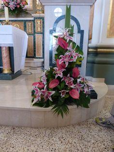 Centro flores, ambón Palabra, En Sta Ana, Campell. Tonos rosa.