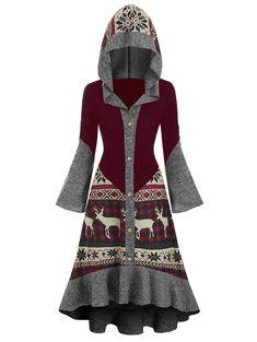 [41% OFF] 2019 Christmas Elk Hooded High Low Flounce Hem Knitted Dress In Multicolor B | DressLily