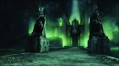 The scale model of Minas Morgul in The Lord of the Rings: The Return of the King was sprayed with phosphorescent paint Lord Of The Rings Tattoo, History Of Middle Earth, Film Grab, Jrr Tolkien, Another World, Beautiful Buildings, The Hobbit, Painting Inspiration, Concept Art