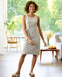Side Tie Shift Dress. The ease of a shift. In wear-all-day cotton. And sunday morning stripe print. Perfection. | Talbots Summer Outfits