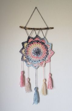 Pink Color Changing Hand Crochet Dreamcatcher Wall Hanging with Tassels. Crochet Wall Art, Crochet Tree, Crochet Wall Hangings, Cute Crochet, Crochet Flowers, Hand Crochet, Crochet Decoration, Crochet Home Decor, Crochet Crafts