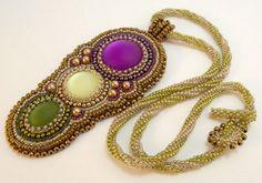 LunaSoft Trio Bead Embroidered Pendant Necklace by beadn4fun, $65.00