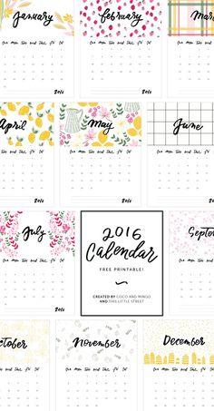 Printable Calendar, 2016 Calendar, freebies, download, hand lettering…