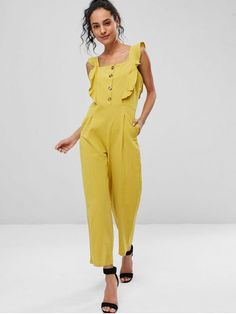 8a59539deca Yellow Fall and Spring and Summer No Solid Sleeveless Square Straight Cute  Daily Square Neck Ruffle Wide Leg Jumpsuit