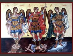 A wonderful icon af Archangel Gabriel, Archangel Michael and Archangel Raphael.For I think it's those on this painting of the vision about the 3 angels who visited Abraham. (For I think there it is Gabriel, Raphael and Michael. St Raphael, Archangel Raphael, Archangel Gabriel, Religious Tattoos, Religious Icons, Religious Art, Saint Gabriel, Paint Icon, San Rafael