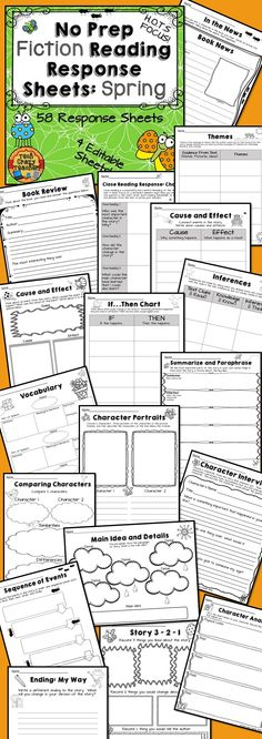 58 Fiction Reading Response Sheets all connected to Higher Order Thinking…