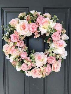Excited to share this item from my shop: Elegant Pale Pink Roses grapevine wreath/Spring/Summer Pink Wreath, Diy Spring Wreath, White Wreath, Tulle Wreath, Door Wreaths, Grapevine Wreath, Yarn Wreaths, Burlap Wreaths, White And Pink Roses