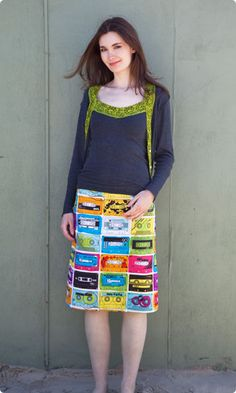 Clever concept!  Make your own skirt from a kit contained premarked fabric, thread, zip, lining, instructions etc... Adoreable!