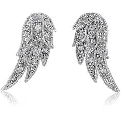 BERRICLE Silver-Tone Rhinestone Angel Wings Fashion Stud Earrings ($20) ❤ liked on Polyvore featuring jewelry, earrings, accessories, wings, stud earrings, women's accessories, silver tone earrings, rhinestone earrings, angel wing earrings and rhinestone jewelry
