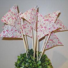 Drapeaux décoration liberty eloise rose