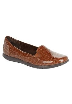 Plus Size Leisa crocodile-look patent wide loafers by Comfortview®   Plus Size flats & slip-ons   Woman Within