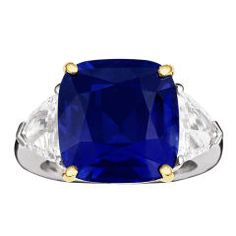 Sapphire ring with trillion-cut side diamonds. Ohhh that blue!