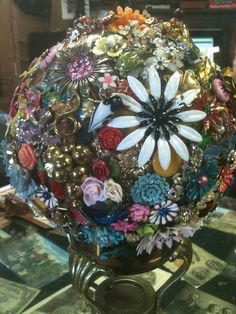 Flower Garden Embellished Bowling Ball w/vintage jewelry by Karen Fererro at Just Reminiscing