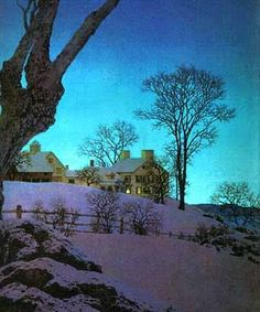 Maxfield Parrish - Winter - My absolute all time favorite artist ever. His art holds great memories for me! This was my very first Max print! Winter Landscape, Landscape Art, Landscape Paintings, Landscape Drawings, Nocturne, Jackson Pollock, Maxfield Parrish, Robert Motherwell, Fotografia Macro