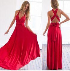 YL 2016 Verão Mulheres Sexy Vestido Maxi Praia Vermelha Vestido Longo Multiway Vestidos Robe Longue Femme vestido de Damas de Honra Convertible Envoltório