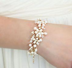 Wedding Jewelry  Statement Golden Freshwater Pearl Bracelet with Swarovski Crystals and Rhinestones Rhinestones