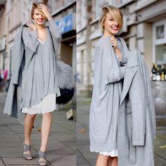 Zara Grey Heels, H&M White Skirt, Vero Moda Long Knit, Zara Furry Bag, Reserved Grey Coat Love when the models smile:)
