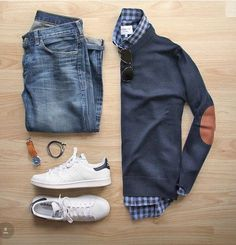 Stitch Fix Men September 2016 men's fall outfit classic cute and preppy. - Tennis Adidas - Ideas of Tennis Adidas - Stitch Fix Men September 2016 men's fall outfit classic cute and preppy. Love the elbow patch sweater. Mode Masculine, Smart Casual, Casual Looks, Mode Outfits, Fashion Outfits, Fashion Ideas, Fashion 2017, Hijab Fashion, Street Fashion