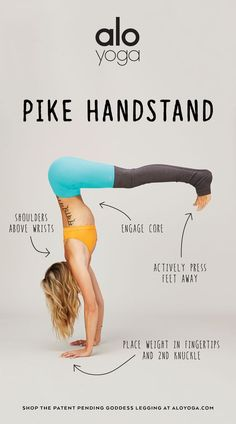 Keep your core engaged, and your weight in your fingertips in order to master your Pike Handstand! #aloyoga #beagoddess