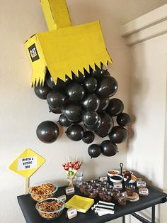 A Construction Party // Giant Digger Balloon Wall & Food Table