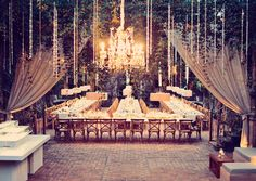 Stunning crystal wedding decor with modern touches at Haiku Mill Maui