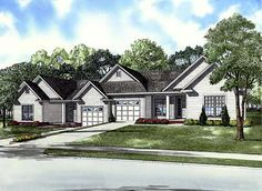 Elevation of Traditional   Multi-Family Plan 61280