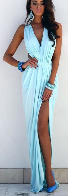 Baby Blue Peplum Maxi Dress