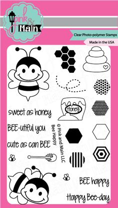 Pink and Main Bee Happy Photopolymer Clear Stamp Set