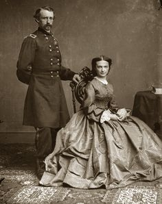 The man known as 'Yellowbeard' to the Native Americans.  General George Custer and his Wife