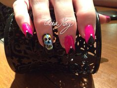 Sugar skull day of the dead nail art freehand @asiakaybeauty @asianailsandhair