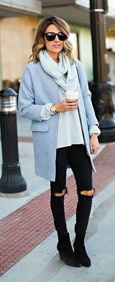 #fall #fashion / blue + blue