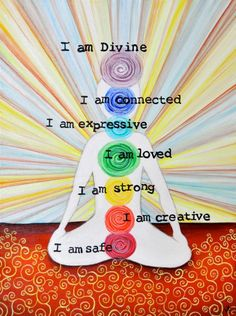 """I AM"" Chakra painting by Dr. Laura Koniver. ""If you could greet each day saying and *feeling* these truths, taking a moment to connect deeply with each one, your health would blossom (from bottom chakra to top): I am safe I am creative I am strong I am loved I am expressive I am connected I am Divine"""