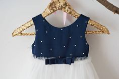 Navy Blue Satin with Pearl Ivory Tulle Wedding Flower Girl
