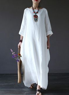 Cheap o-neck dress, Buy Quality women maxi dress directly from China maxi dress Suppliers: Johnature Women Maxi Dress 2017 New Summer Cotton Linen Casual Loose Regular Sleeves O-Neck Dress 3 Colour Nine Sleeve Vintage Linen Dresses, Casual Dresses, Fashion Dresses, Maxi Dresses, Elegant Dresses, Dress Plus Size, Maxi Robes, Mode Outfits, Mode Style